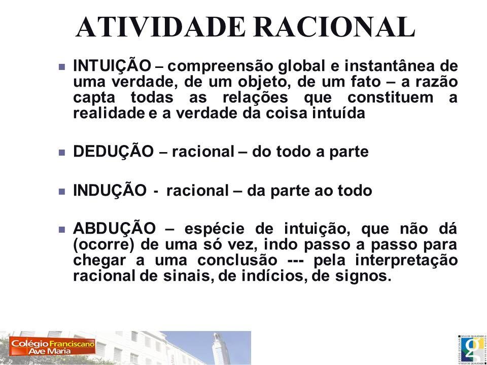 ATIVIDADE RACIONAL INTUIÇÃO – compreensão global e instantânea de uma verdade, de um objeto, de um fato – a razão capta todas as relações que constitu