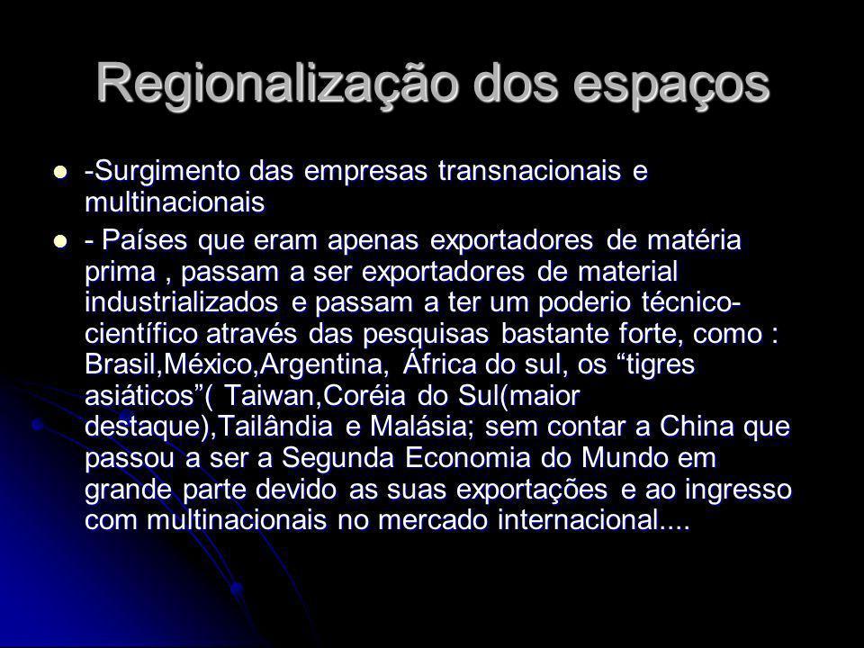 Regionalização dos espaços -Surgimento das empresas transnacionais e multinacionais -Surgimento das empresas transnacionais e multinacionais - Países