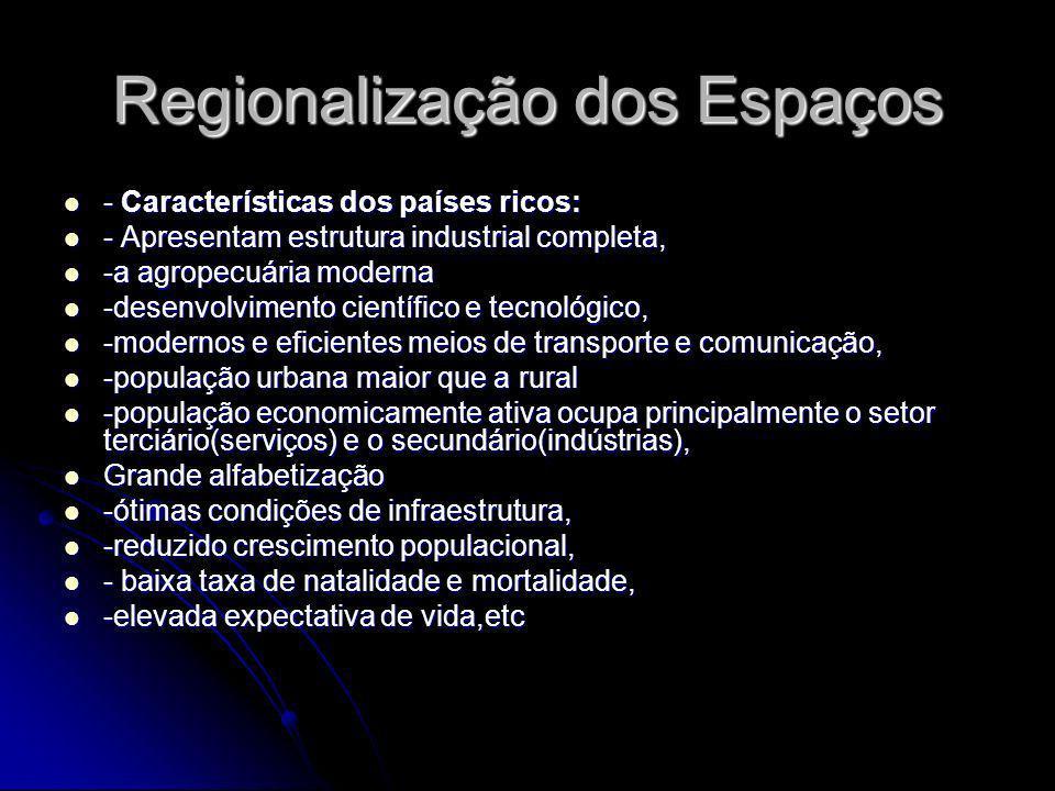 Regionalização dos Espaços - Características dos países ricos: - Características dos países ricos: - Apresentam estrutura industrial completa, - Apres