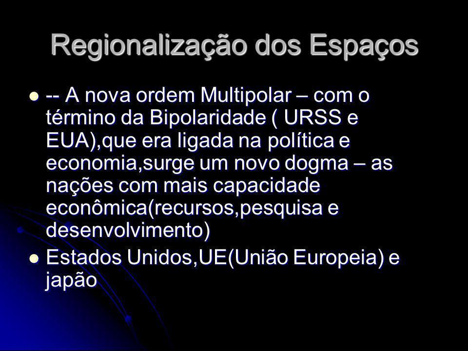 Regionalização dos Espaços -- A nova ordem Multipolar – com o término da Bipolaridade ( URSS e EUA),que era ligada na política e economia,surge um nov