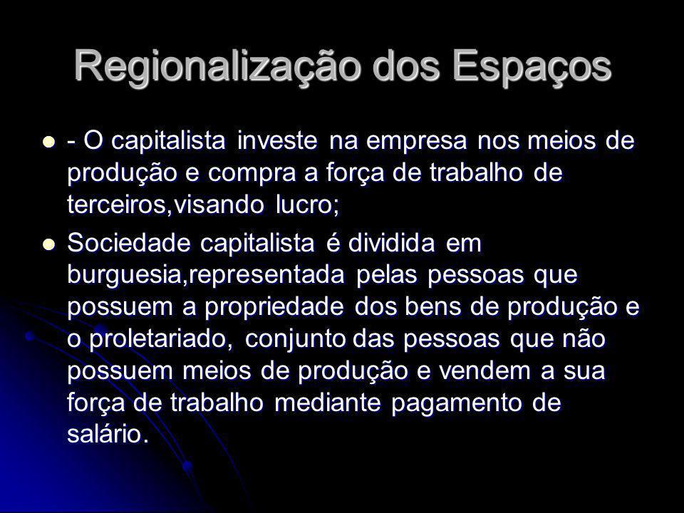Regionalização dos Espaços - O capitalista investe na empresa nos meios de produção e compra a força de trabalho de terceiros,visando lucro; - O capit