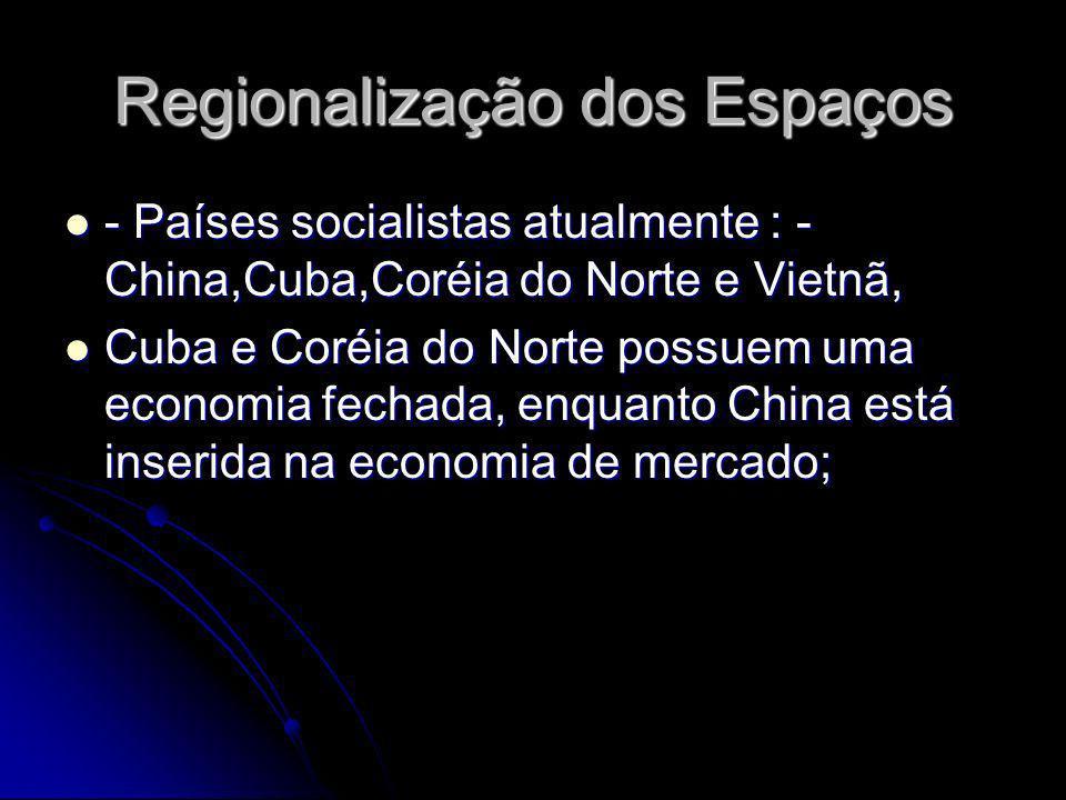 Regionalização dos Espaços - Países socialistas atualmente : - China,Cuba,Coréia do Norte e Vietnã, - Países socialistas atualmente : - China,Cuba,Cor