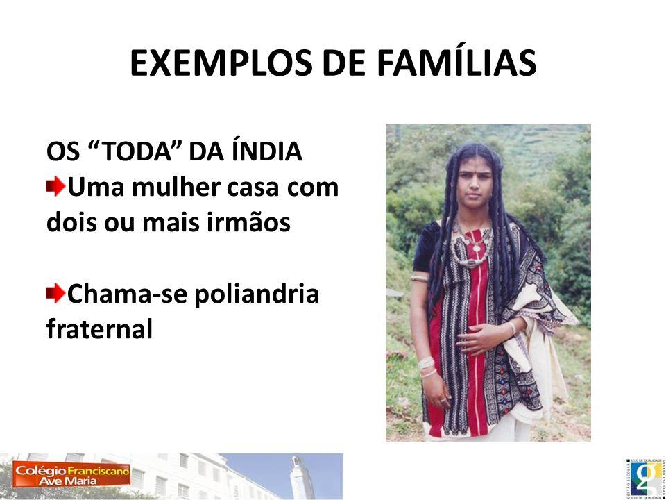 EXEMPLOS DE FAMÍLIAS OS TODA DA ÍNDIA Uma mulher casa com dois ou mais irmãos Chama-se poliandria fraternal