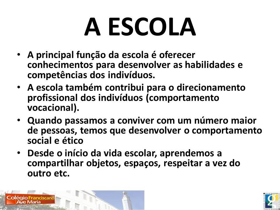 A ESCOLA A principal função da escola é oferecer conhecimentos para desenvolver as habilidades e competências dos indivíduos. A escola também contribu