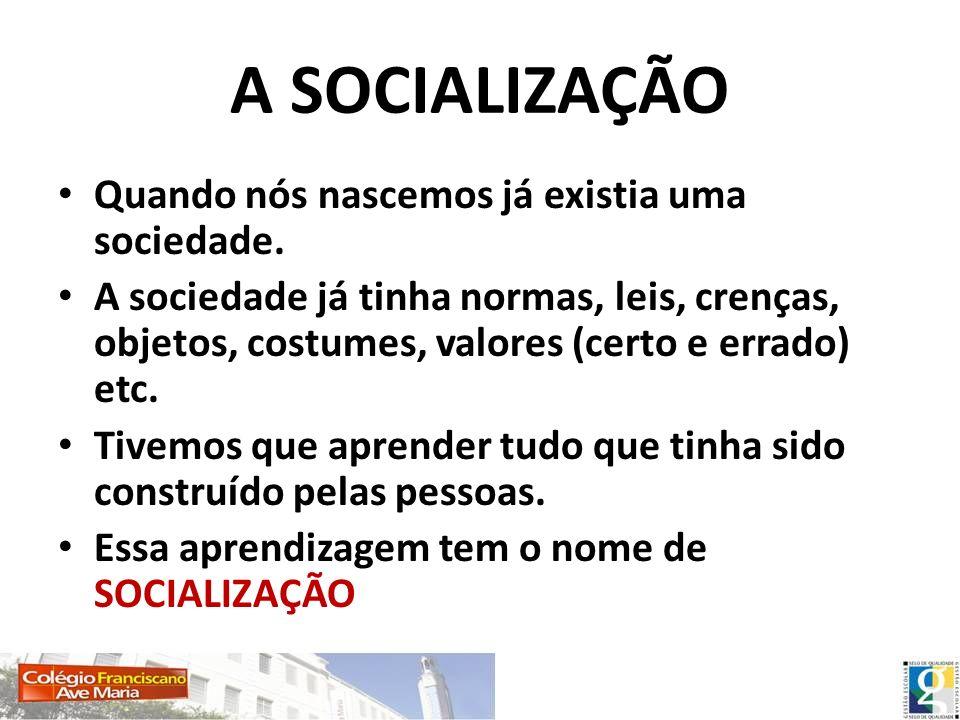 A SOCIALIZAÇÃO Quando nós nascemos já existia uma sociedade. A sociedade já tinha normas, leis, crenças, objetos, costumes, valores (certo e errado) e