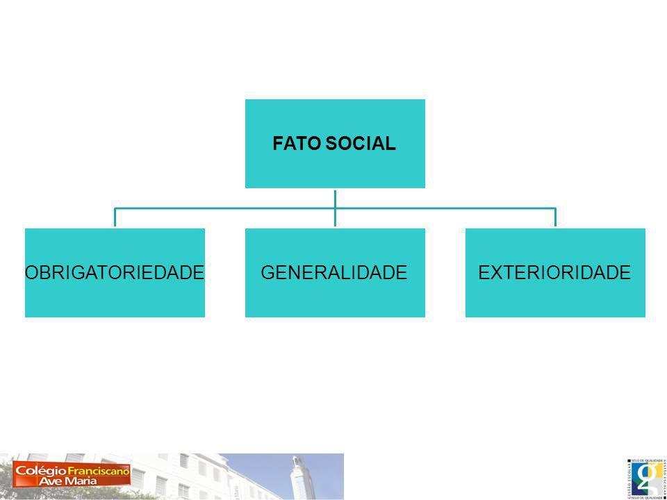 FATOS SOCIAIS CARACTERÍSTICAS: GENERALIDADE; o fato social é comum a todos os membros do grupo.