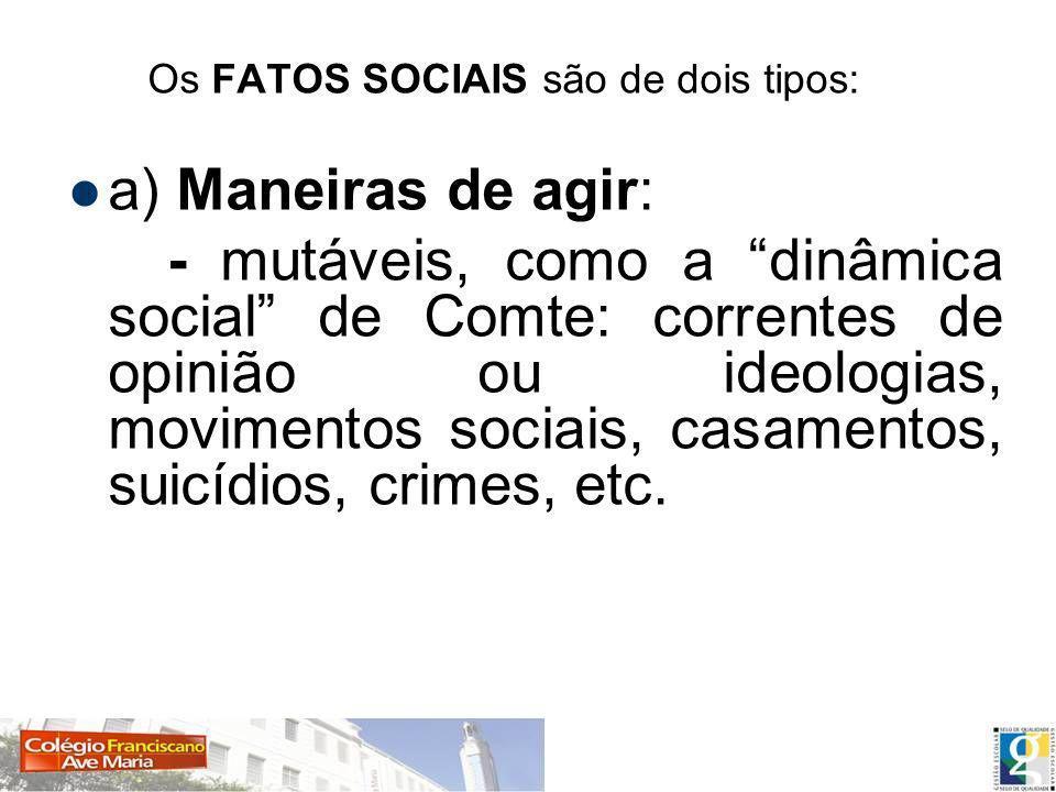 Os FATOS SOCIAIS são de dois tipos: a) Maneiras de agir: - mutáveis, como a dinâmica social de Comte: correntes de opinião ou ideologias, movimentos sociais, casamentos, suicídios, crimes, etc.