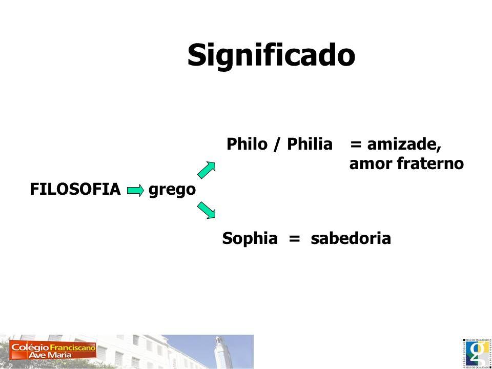 Significado FILOSOFIA Philo / Philia Sophia grego = amizade, amor fraterno = sabedoria