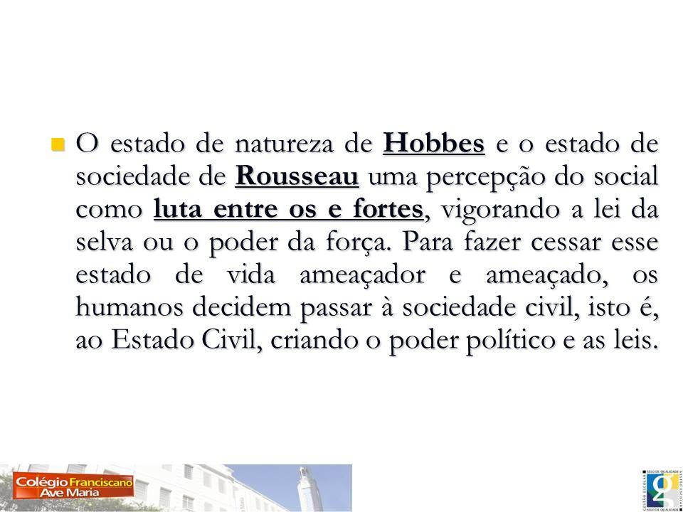 O estado de natureza de Hobbes e o estado de sociedade de Rousseau uma percepção do social como luta entre os e fortes, vigorando a lei da selva ou o