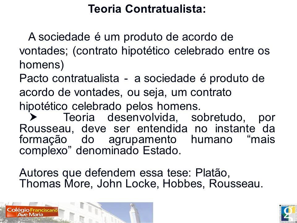 Teoria Contratualista: A sociedade é um produto de acordo de vontades; (contrato hipotético celebrado entre os homens) A sociedade é um produto de acordo de vontades; (contrato hipotético celebrado entre os homens) Pacto contratualista - Pacto contratualista - a sociedade é produto de acordo de vontades, ou seja, um contrato hipotético celebrado pelos homens.