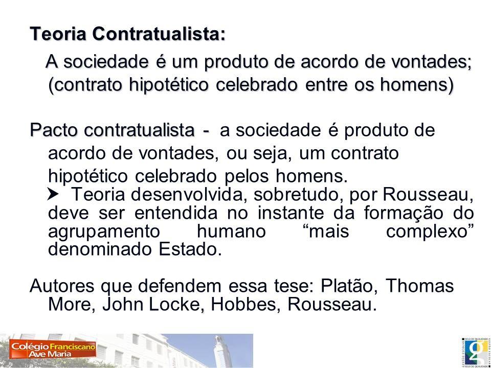 Teoria Contratualista: A sociedade é um produto de acordo de vontades; (contrato hipotético celebrado entre os homens) A sociedade é um produto de aco