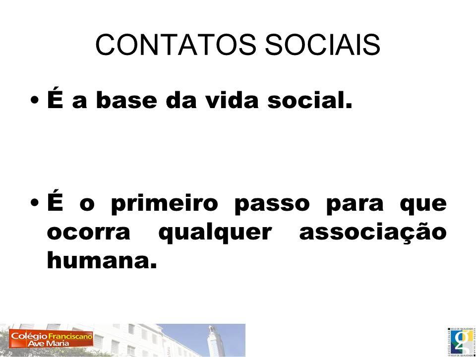 Contatos Sociais Os contatos sociais estão na origem da vida em sociedade.