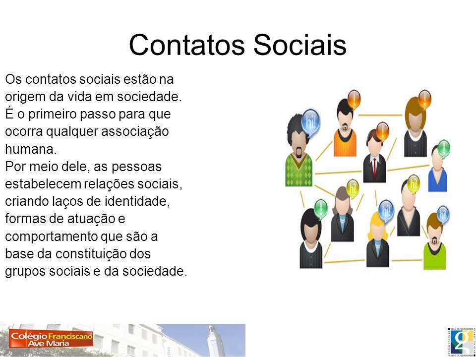 Tipos de contatos sociais Contatos sociais primários: Contatos sociais secundários: