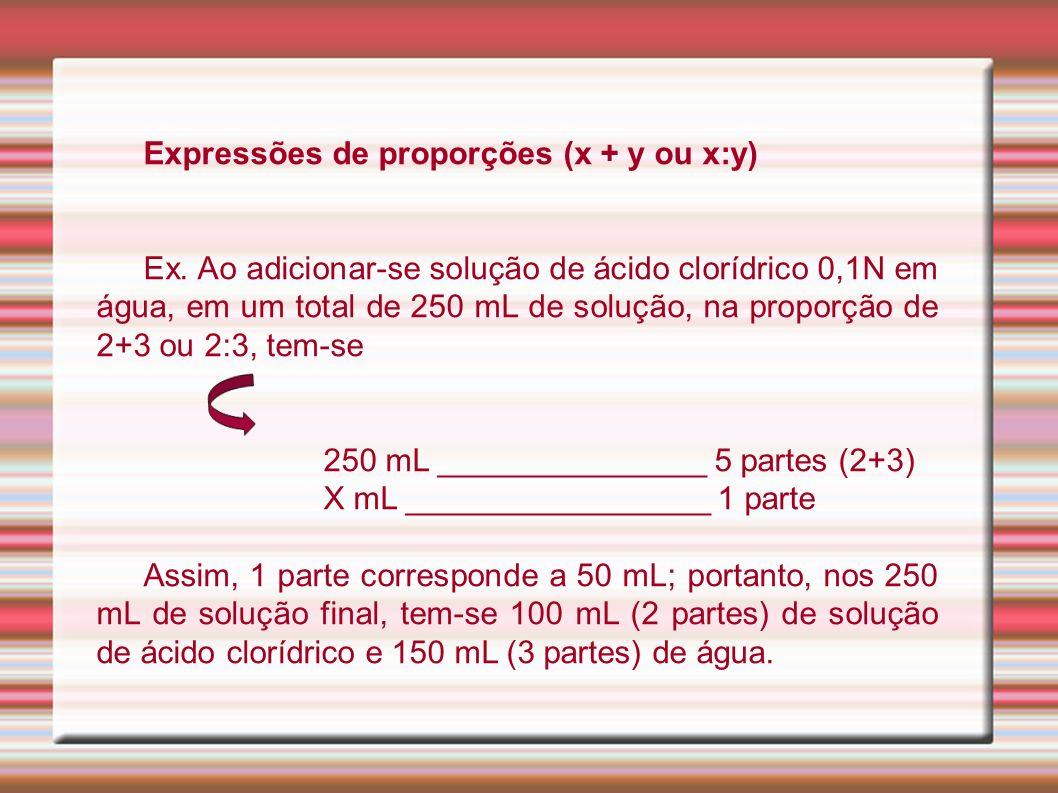 Expressões de proporções (x + y ou x:y) Ex. Ao adicionar-se solução de ácido clorídrico 0,1N em água, em um total de 250 mL de solução, na proporção d
