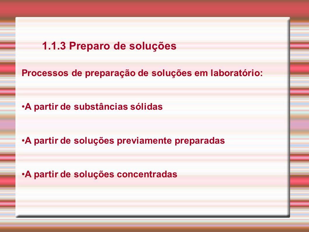 1.1.3 Preparo de soluções Processos de preparação de soluções em laboratório: A partir de substâncias sólidas A partir de soluções previamente prepara