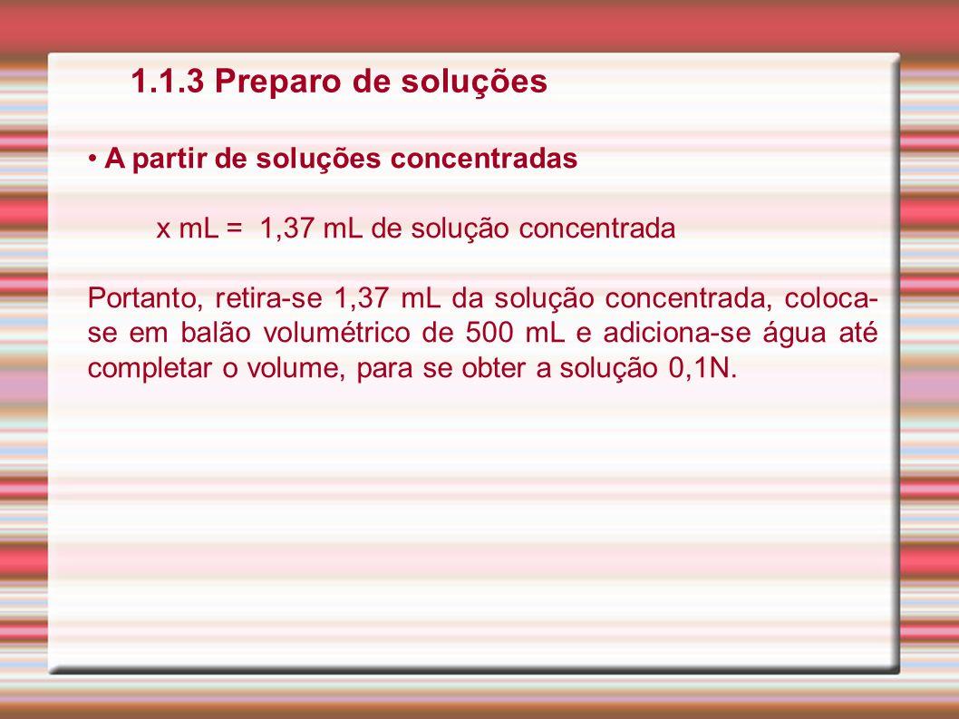 1.1.3 Preparo de soluções A partir de soluções concentradas x mL = 1,37 mL de solução concentrada Portanto, retira-se 1,37 mL da solução concentrada,