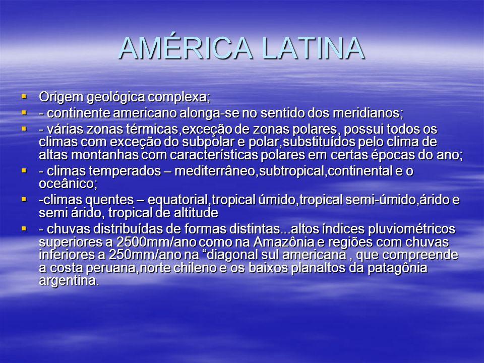 AMÉRICA LATINA Alonga-se no sentido dos meridianos; Alonga-se no sentido dos meridianos; - cortada pela linha do Equador,trópico de Câncer e trópico de Capricórnio; - cortada pela linha do Equador,trópico de Câncer e trópico de Capricórnio; - Grande parte da América Latina está em uma região intertropical.