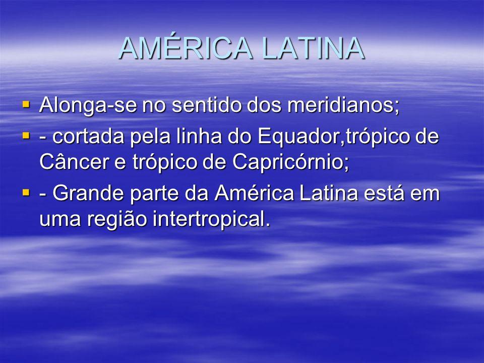 AMÉRICA LATINA Alonga-se no sentido dos meridianos; Alonga-se no sentido dos meridianos; - cortada pela linha do Equador,trópico de Câncer e trópico d