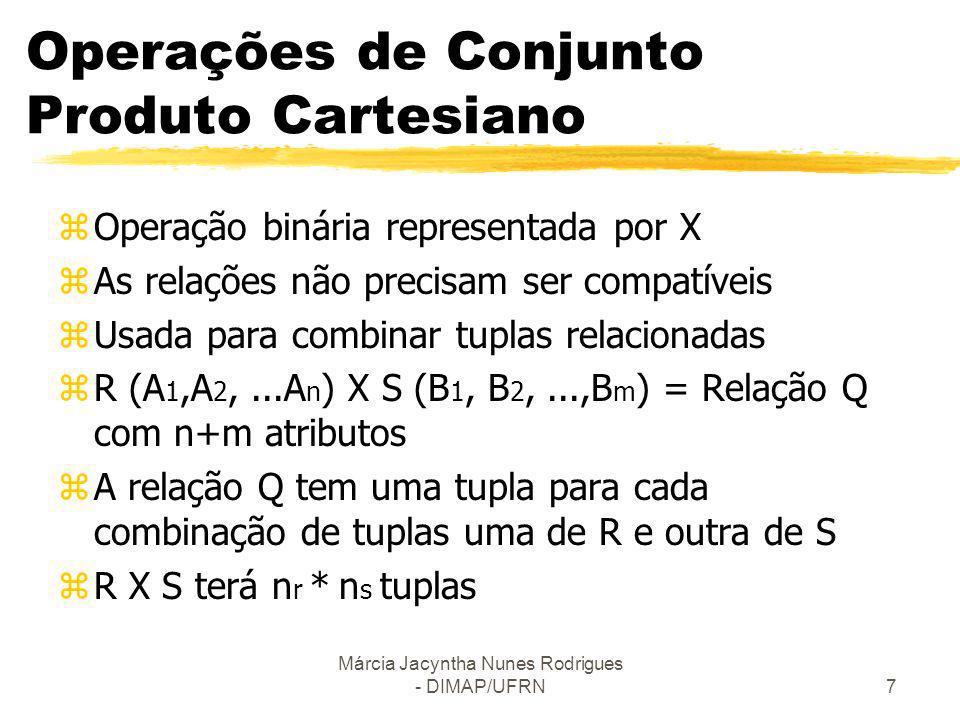 Márcia Jacyntha Nunes Rodrigues - DIMAP/UFRN7 Operações de Conjunto Produto Cartesiano zOperação binária representada por X zAs relações não precisam