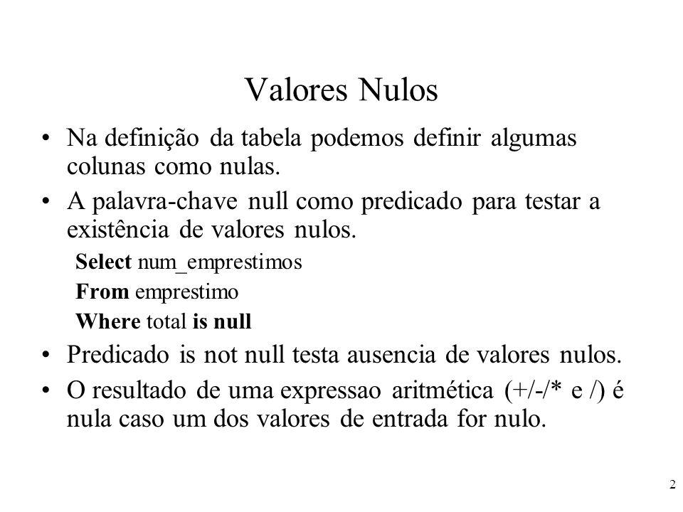 3 Valores Nulos Para as funções agregadas: –Algumas tuplas na relação empréstimo tenham valores nulos para total.