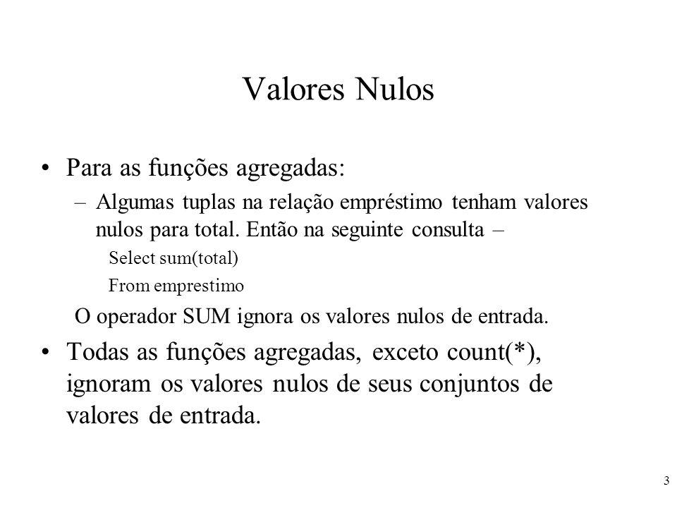 3 Valores Nulos Para as funções agregadas: –Algumas tuplas na relação empréstimo tenham valores nulos para total. Então na seguinte consulta – Select