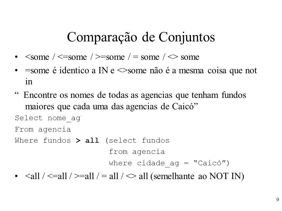 10 Comparação de Conjuntos Encontre a agencia que tem o maior saldo médio Você não pode fazer max (avg(...)) Select nome_ag From conta Group by nome_ag Having avg(saldo) > = all (select avg(saldo) from conta group by nome_agencia)
