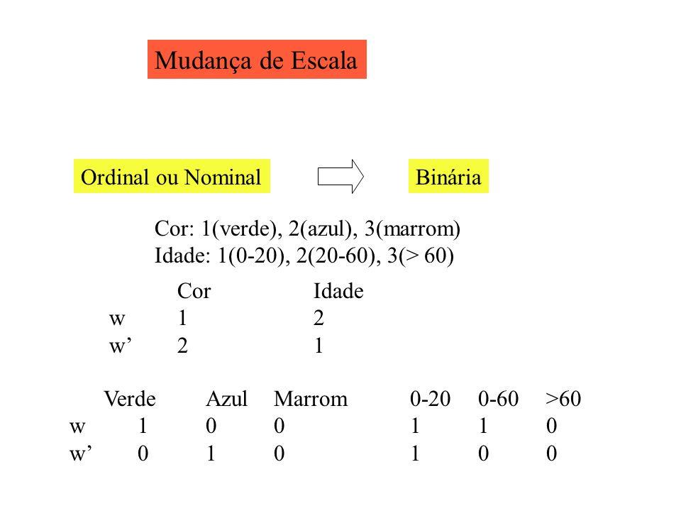 Mudança de Escala Cor: 1(verde), 2(azul), 3(marrom) Idade: 1(0-20), 2(20-60), 3(> 60) CorIdade w12 w21 VerdeAzulMarrom0-200-60>60 w 100110 w010100 Ord
