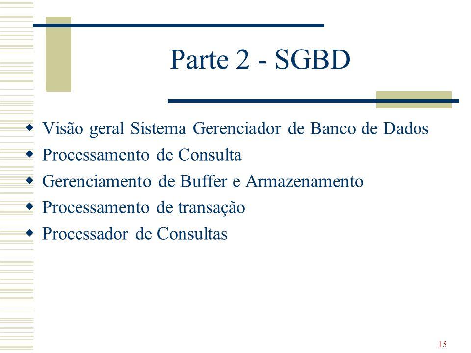 15 Parte 2 - SGBD Visão geral Sistema Gerenciador de Banco de Dados Processamento de Consulta Gerenciamento de Buffer e Armazenamento Processamento de