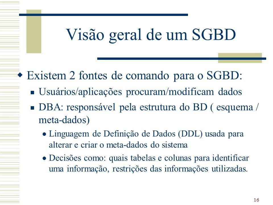 16 Visão geral de um SGBD Existem 2 fontes de comando para o SGBD: Usuários/aplicações procuram/modificam dados DBA: responsável pela estrutura do BD