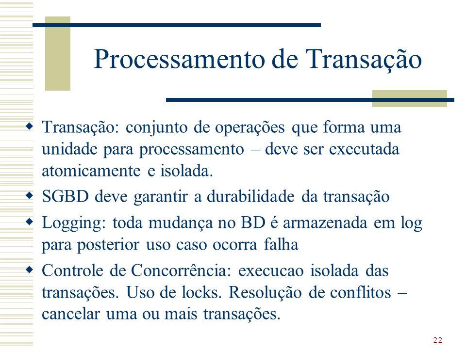 22 Processamento de Transação Transação: conjunto de operações que forma uma unidade para processamento – deve ser executada atomicamente e isolada. S