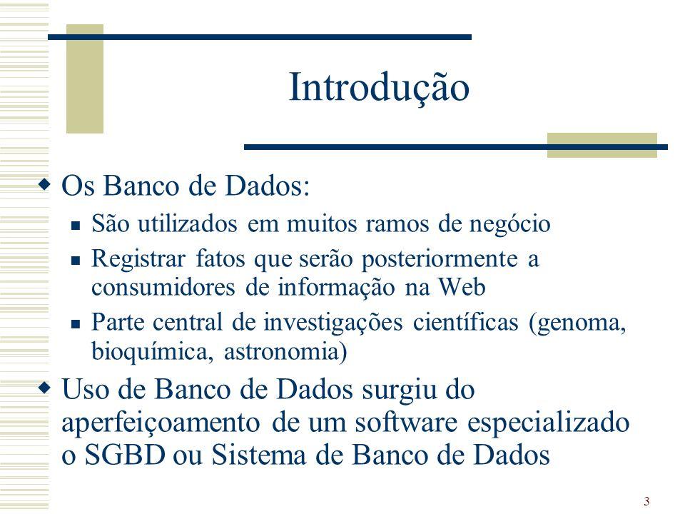 3 Introdução Os Banco de Dados: São utilizados em muitos ramos de negócio Registrar fatos que serão posteriormente a consumidores de informação na Web