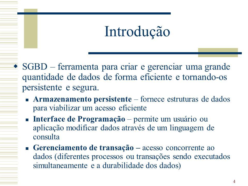 15 Parte 2 - SGBD Visão geral Sistema Gerenciador de Banco de Dados Processamento de Consulta Gerenciamento de Buffer e Armazenamento Processamento de transação Processador de Consultas