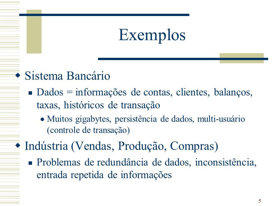 5 Exemplos Sistema Bancário Dados = informações de contas, clientes, balanços, taxas, históricos de transação Muitos gigabytes, persistência de dados,