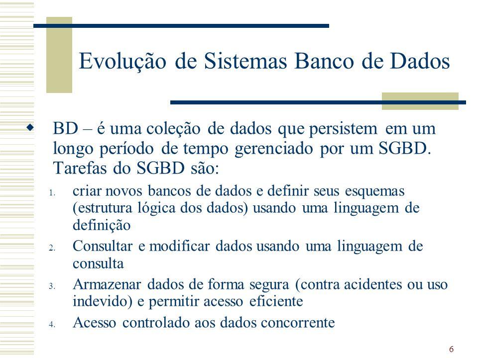 6 Evolução de Sistemas Banco de Dados BD – é uma coleção de dados que persistem em um longo período de tempo gerenciado por um SGBD. Tarefas do SGBD s