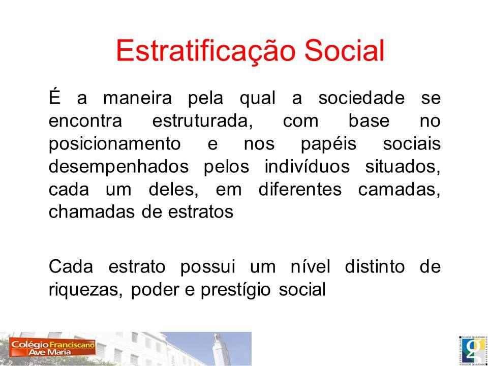 É a maneira pela qual a sociedade se encontra estruturada, com base no posicionamento e nos papéis sociais desempenhados pelos indivíduos situados, ca