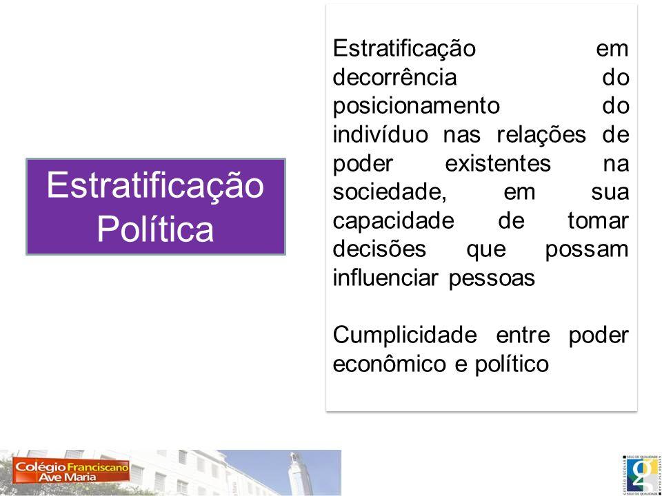 Estratificação Política Estratificação em decorrência do posicionamento do indivíduo nas relações de poder existentes na sociedade, em sua capacidade