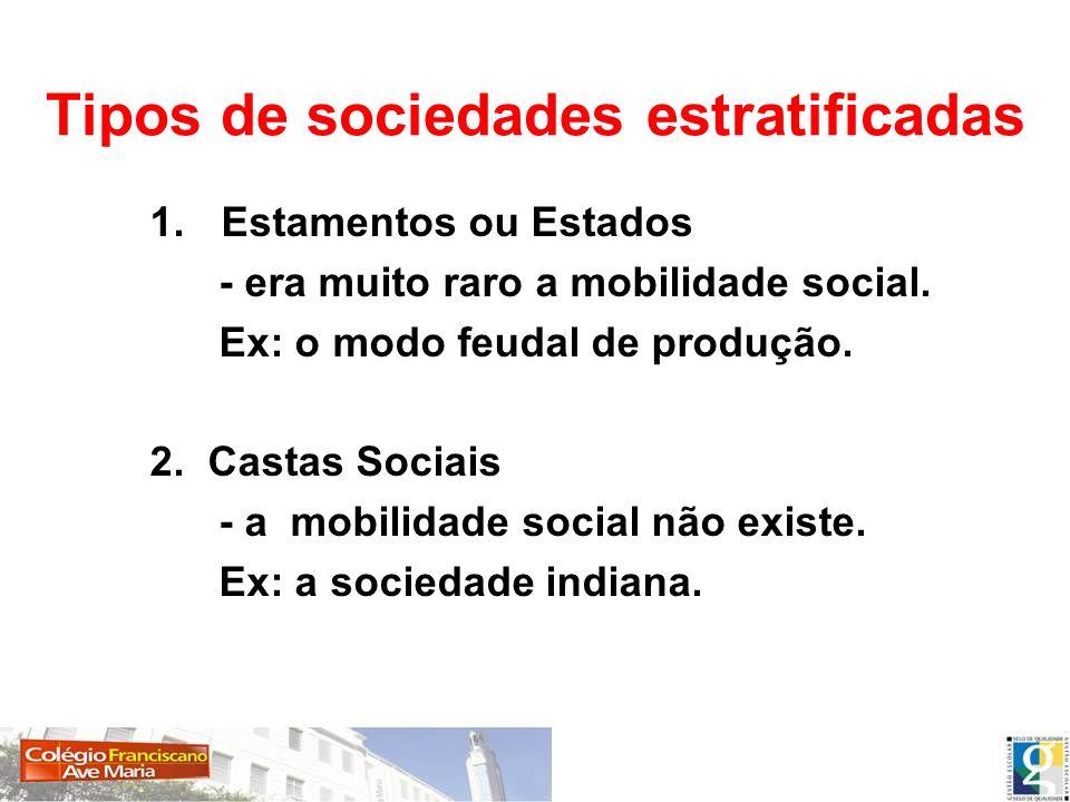 Tipos de sociedades estratificadas 1.Estamentos ou Estados - era muito raro a mobilidade social. Ex: o modo feudal de produção. 2. Castas Sociais - a