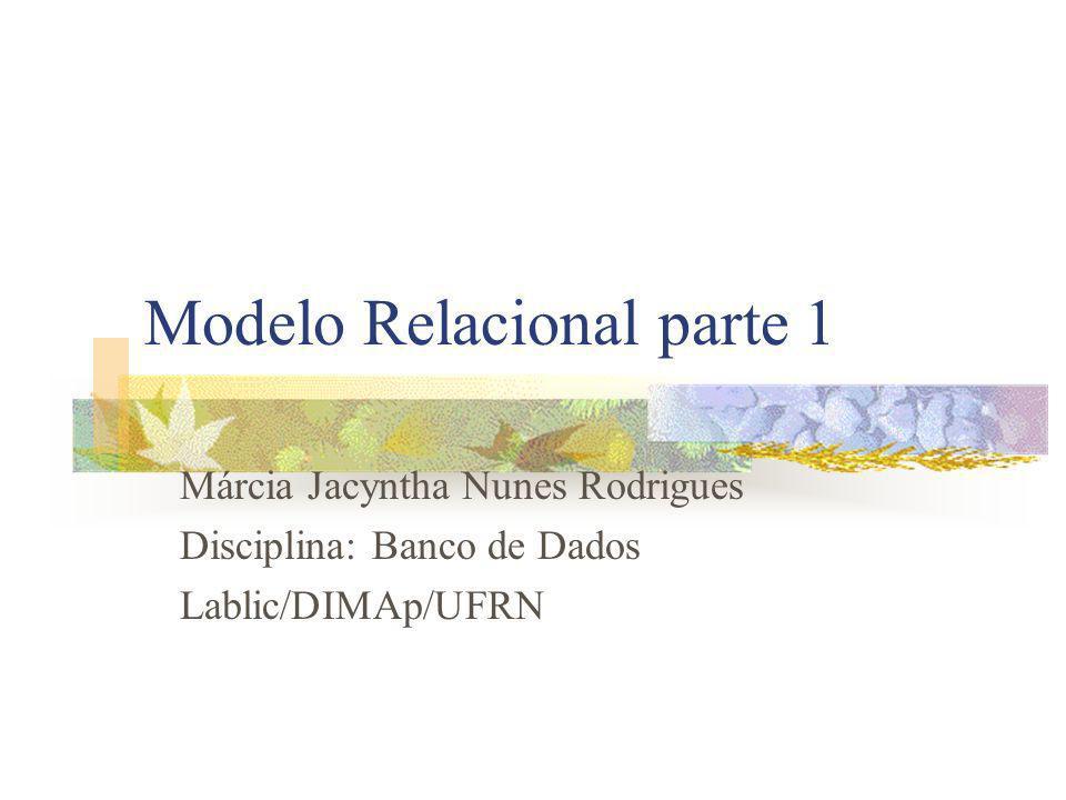 Modelo Relacional parte 1 Márcia Jacyntha Nunes Rodrigues Disciplina: Banco de Dados Lablic/DIMAp/UFRN