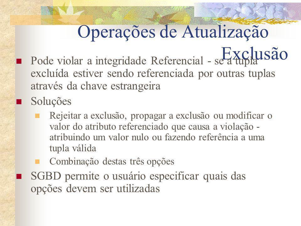 Operações de Atualização Exclusão Pode violar a integridade Referencial - se a tupla excluída estiver sendo referenciada por outras tuplas através da
