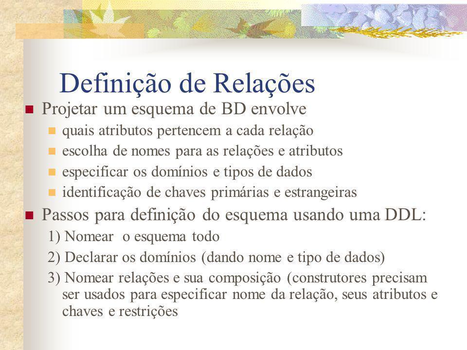 Definição de Relações Projetar um esquema de BD envolve quais atributos pertencem a cada relação escolha de nomes para as relações e atributos especif