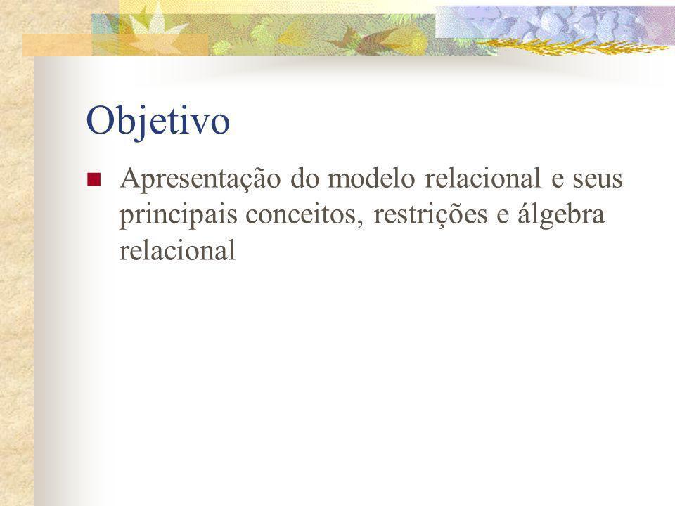 Objetivo Apresentação do modelo relacional e seus principais conceitos, restrições e álgebra relacional