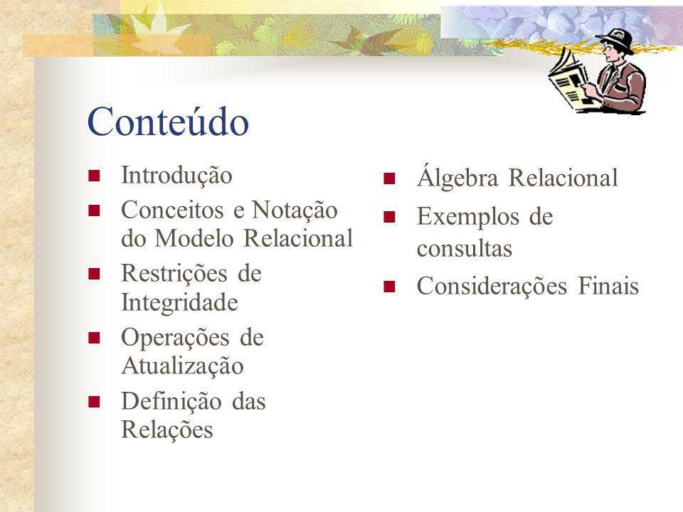 Conteúdo Introdução Conceitos e Notação do Modelo Relacional Restrições de Integridade Operações de Atualização Definição das Relações Álgebra Relacio