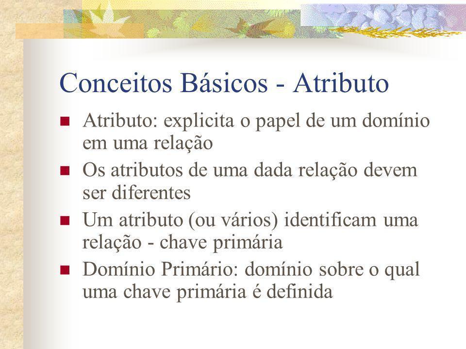 Conceitos Básicos - Atributo Atributo: explicita o papel de um domínio em uma relação Os atributos de uma dada relação devem ser diferentes Um atribut