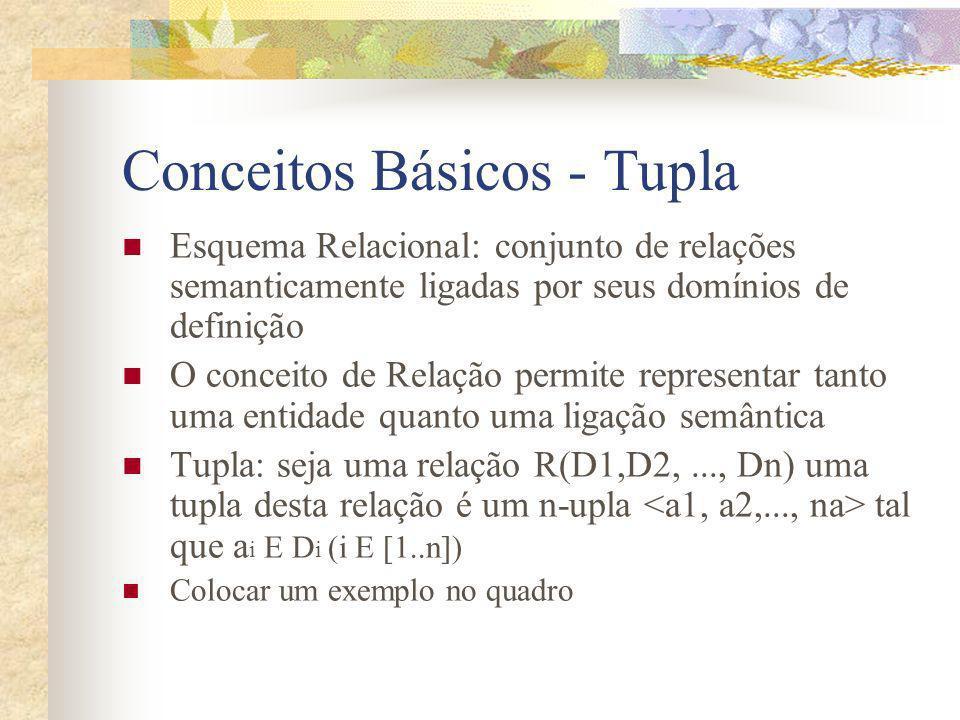 Conceitos Básicos - Tupla Esquema Relacional: conjunto de relações semanticamente ligadas por seus domínios de definição O conceito de Relação permite