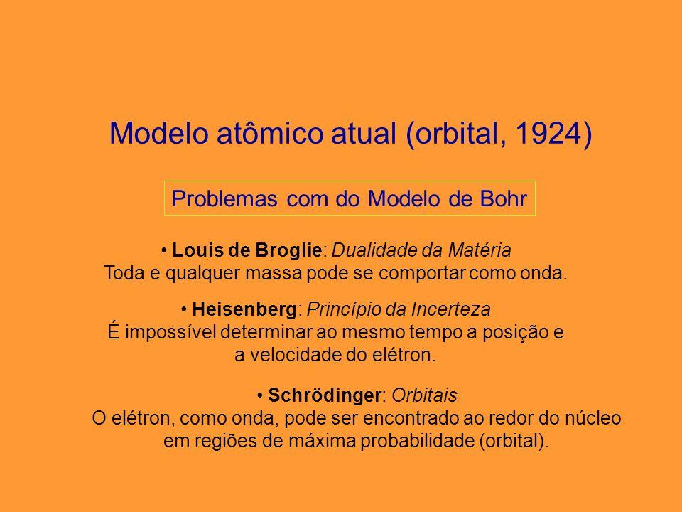 Modelo atômico atual (modelo de orbitais) Em cada orbital só há, no máximo, 2 elétrons, representados por meia-seta para cima e meia-seta para baixo (spins).