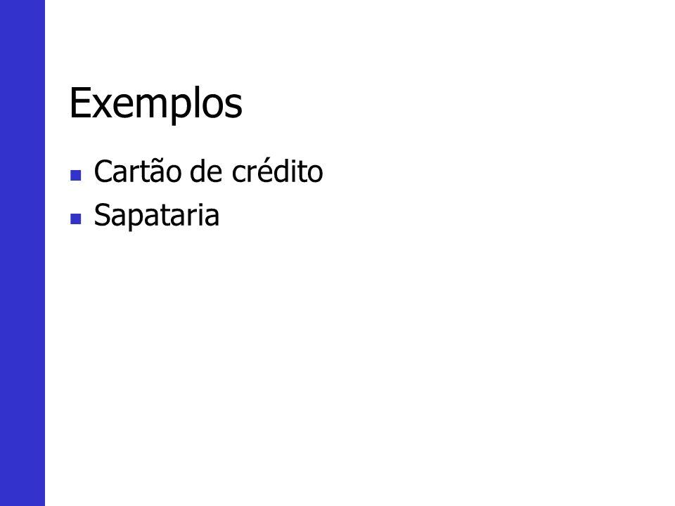 Exemplos Cartão de crédito Sapataria