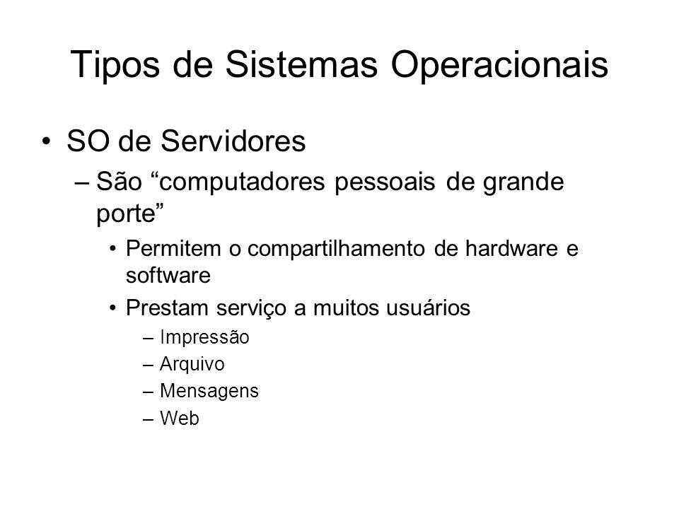 Tipos de Sistemas Operacionais SO de Servidores –São computadores pessoais de grande porte Permitem o compartilhamento de hardware e software Prestam serviço a muitos usuários –Impressão –Arquivo –Mensagens –Web