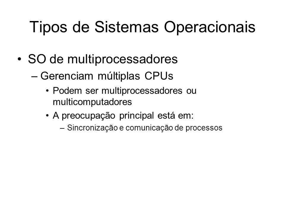 Tipos de Sistemas Operacionais SO de multiprocessadores –Gerenciam múltiplas CPUs Podem ser multiprocessadores ou multicomputadores A preocupação principal está em: –Sincronização e comunicação de processos