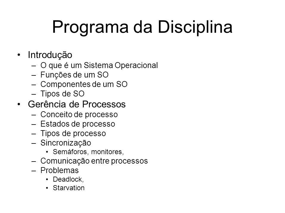 Programa da Disciplina Introdução –O que é um Sistema Operacional –Funções de um SO –Componentes de um SO –Tipos de SO Gerência de Processos –Conceito de processo –Estados de processo –Tipos de processo –Sincronização Semáforos, monitores, –Comunicação entre processos –Problemas Deadlock, Starvation