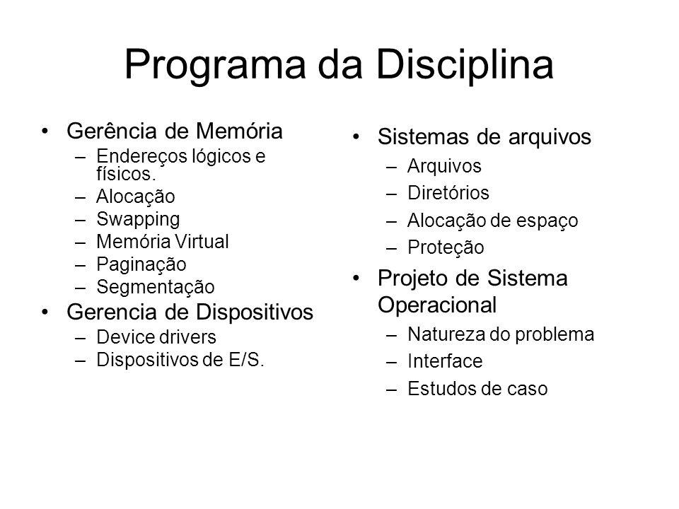 Programa da Disciplina Gerência de Memória –Endereços lógicos e físicos.